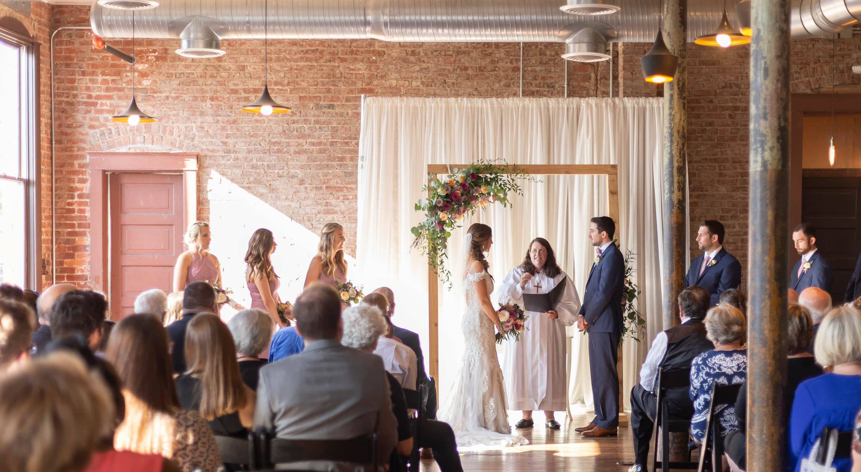 wedding ceremony at our industrial chic Indianapolis wedding venue