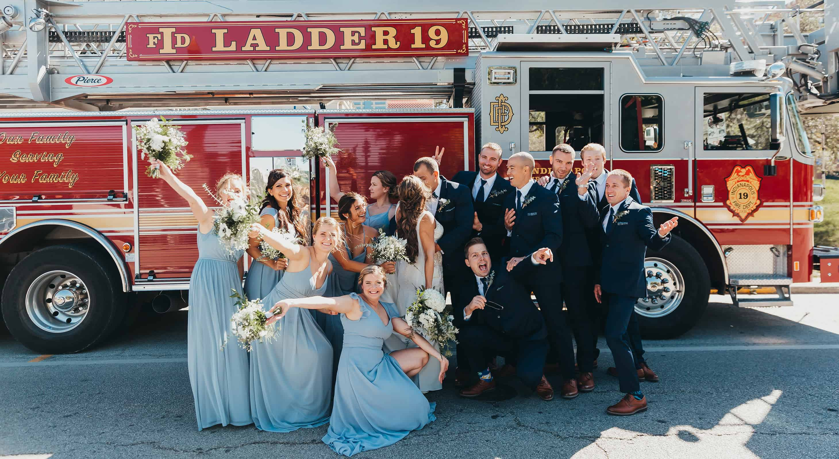 Bridal Party in front of an Indianapolis Ladder 19  Fire Truck