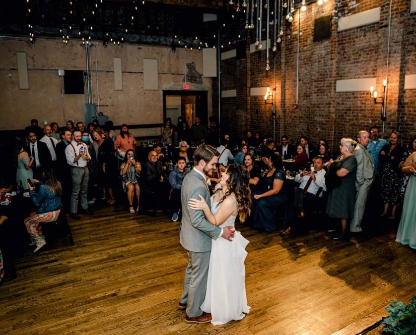 Bride and groom have the first dance at an Indianapolis wedding venue