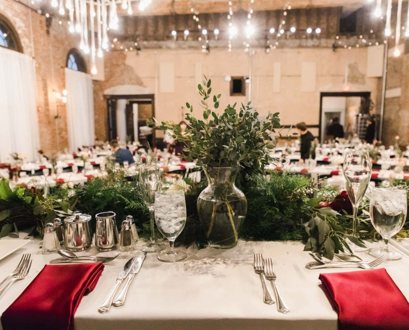Reception dinner at an Indianapolis wedding venue