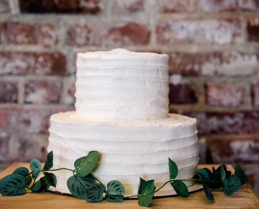Simple two tiered wedding cake