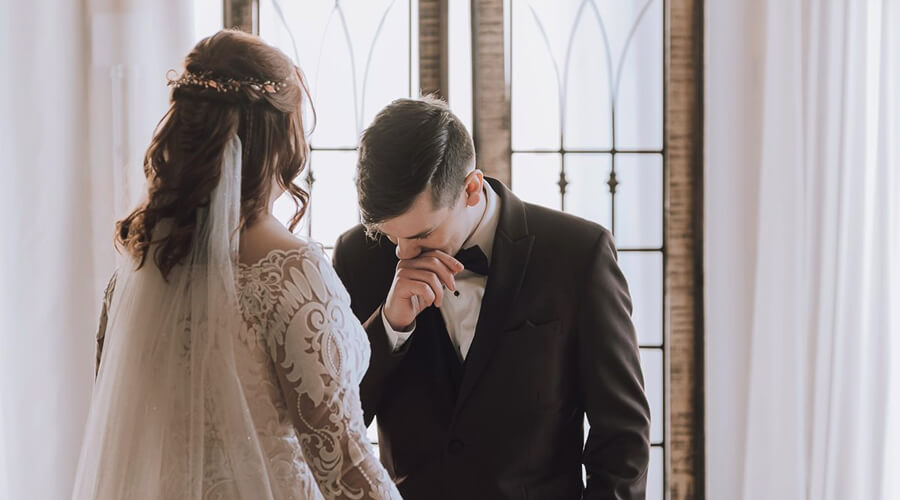 groom tearing up at bride first look in Indianapolis